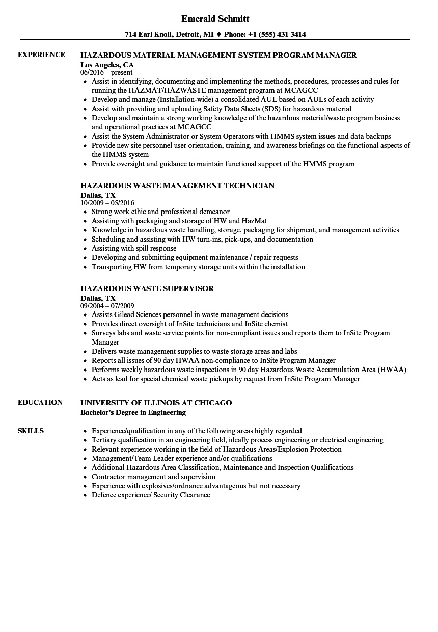 Hazardous Resume Samples | Velvet Jobs