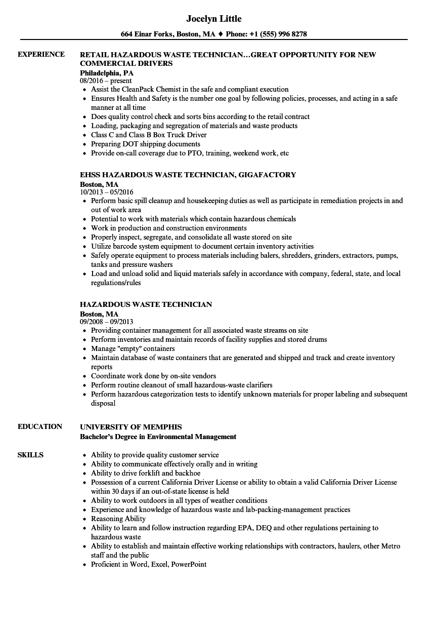 hazardous waste technician resume samples