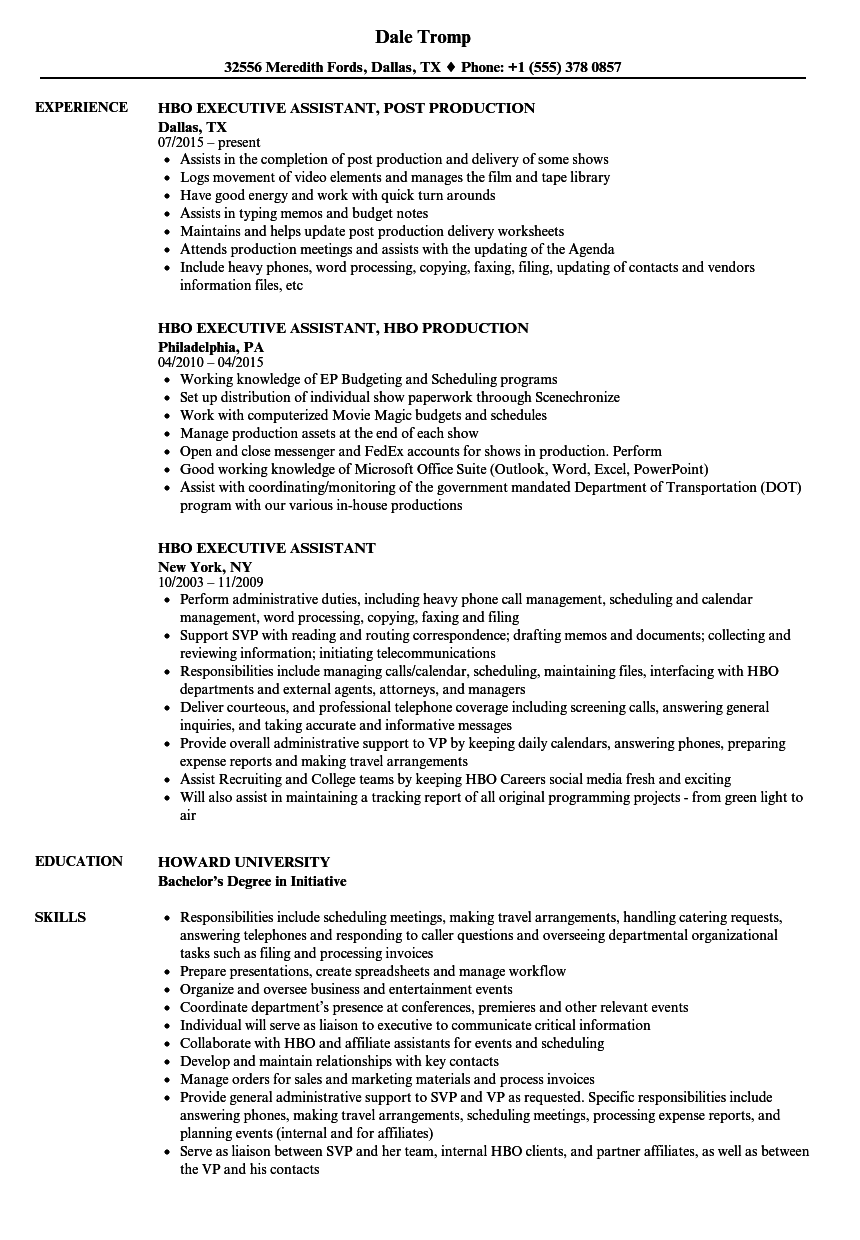 HBO Executive Assistant Resume Samples | Velvet Jobs