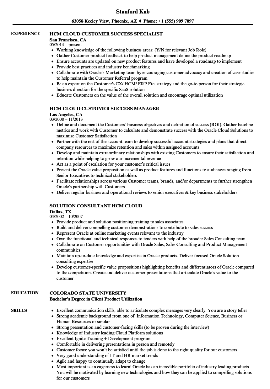 hcm cloud resume samples