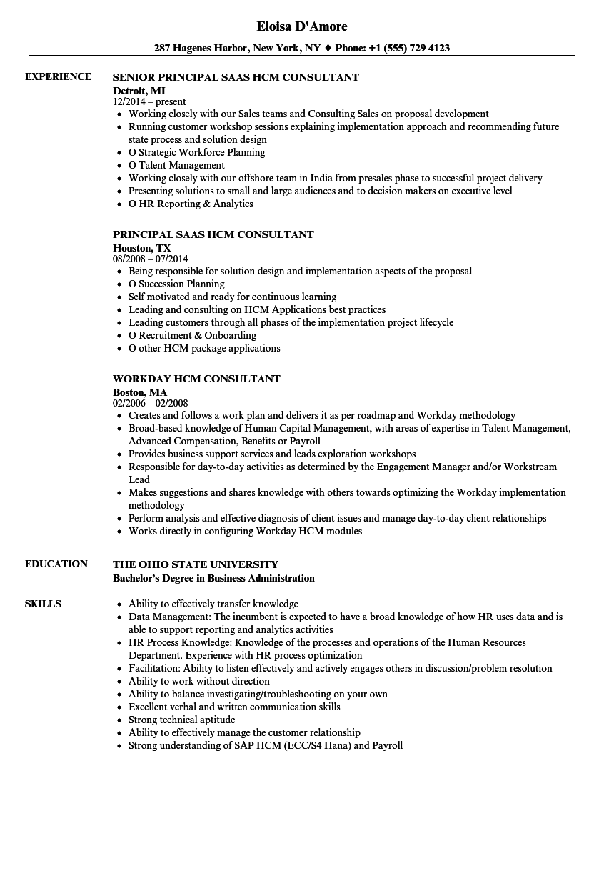 HCM Consultant Resume Samples | Velvet Jobs