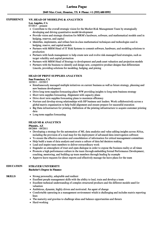 head analytics resume samples