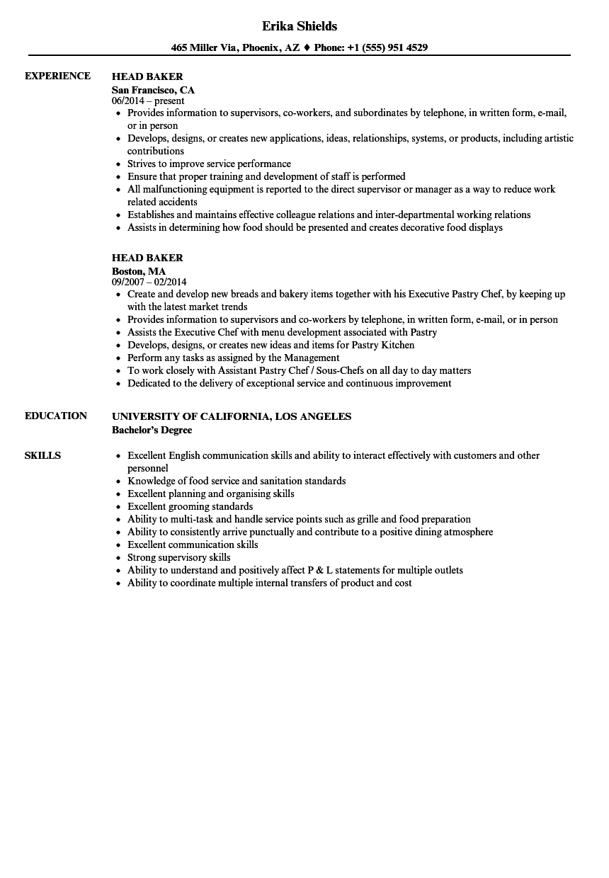 Head Baker Resume Samples Velvet Jobs