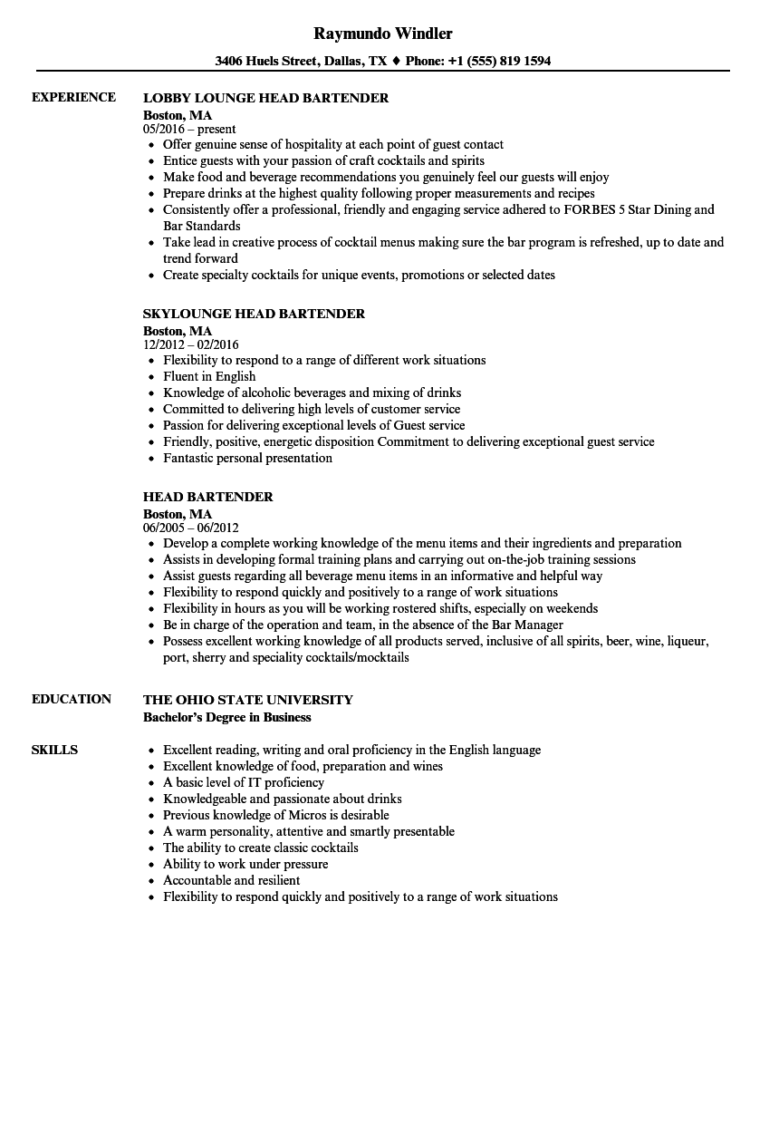 Head Bartender Resume Samples | Velvet Jobs