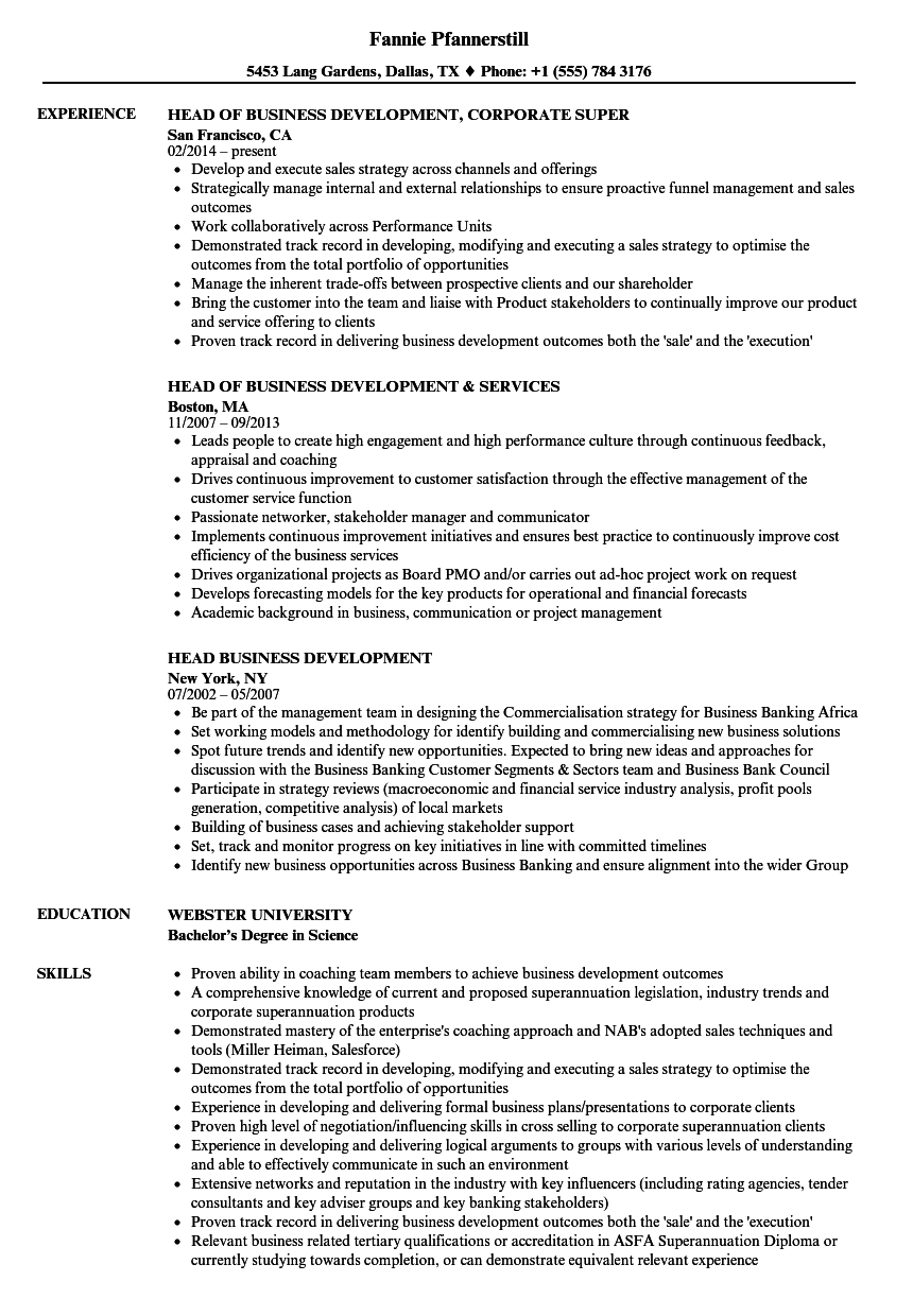 head business development resume samples velvet jobs