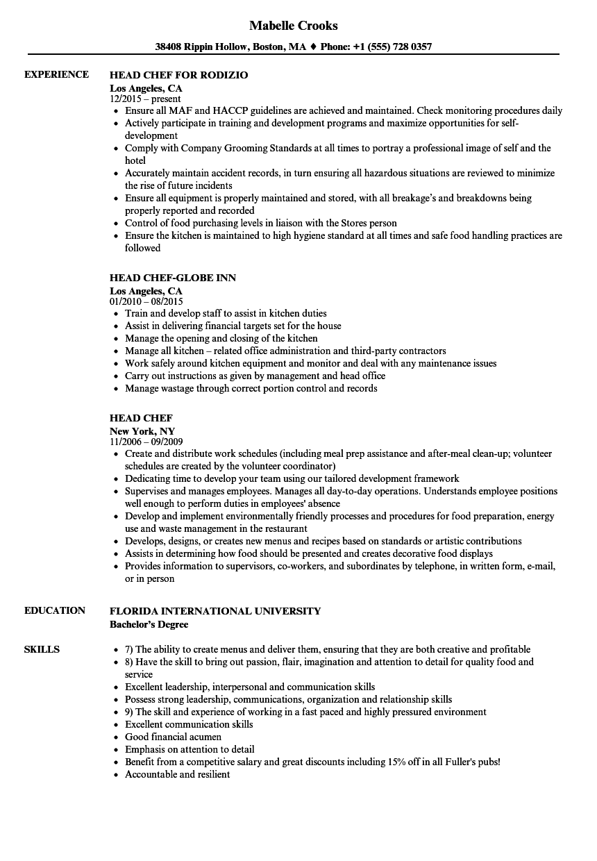 sample cv head chef