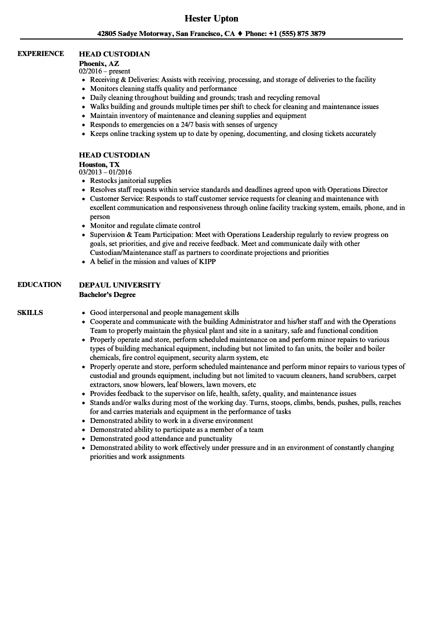 Head Custodian Resume Samples Velvet Jobs