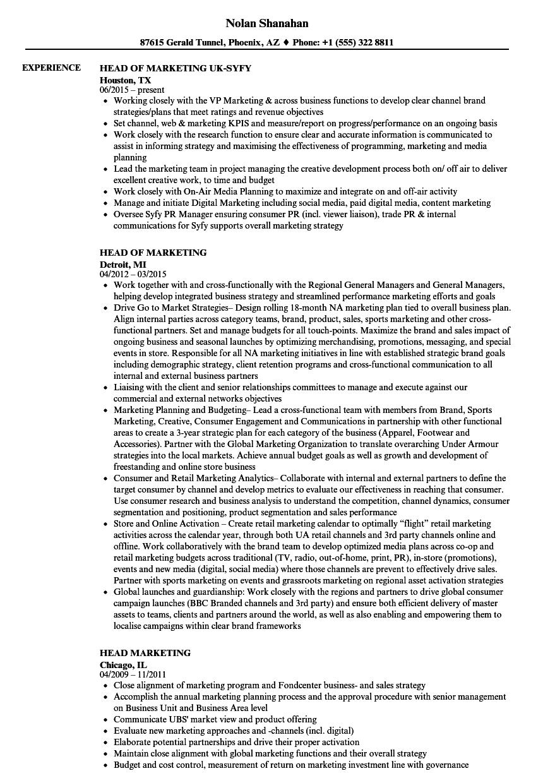 Head Marketing Resume Samples | Velvet Jobs