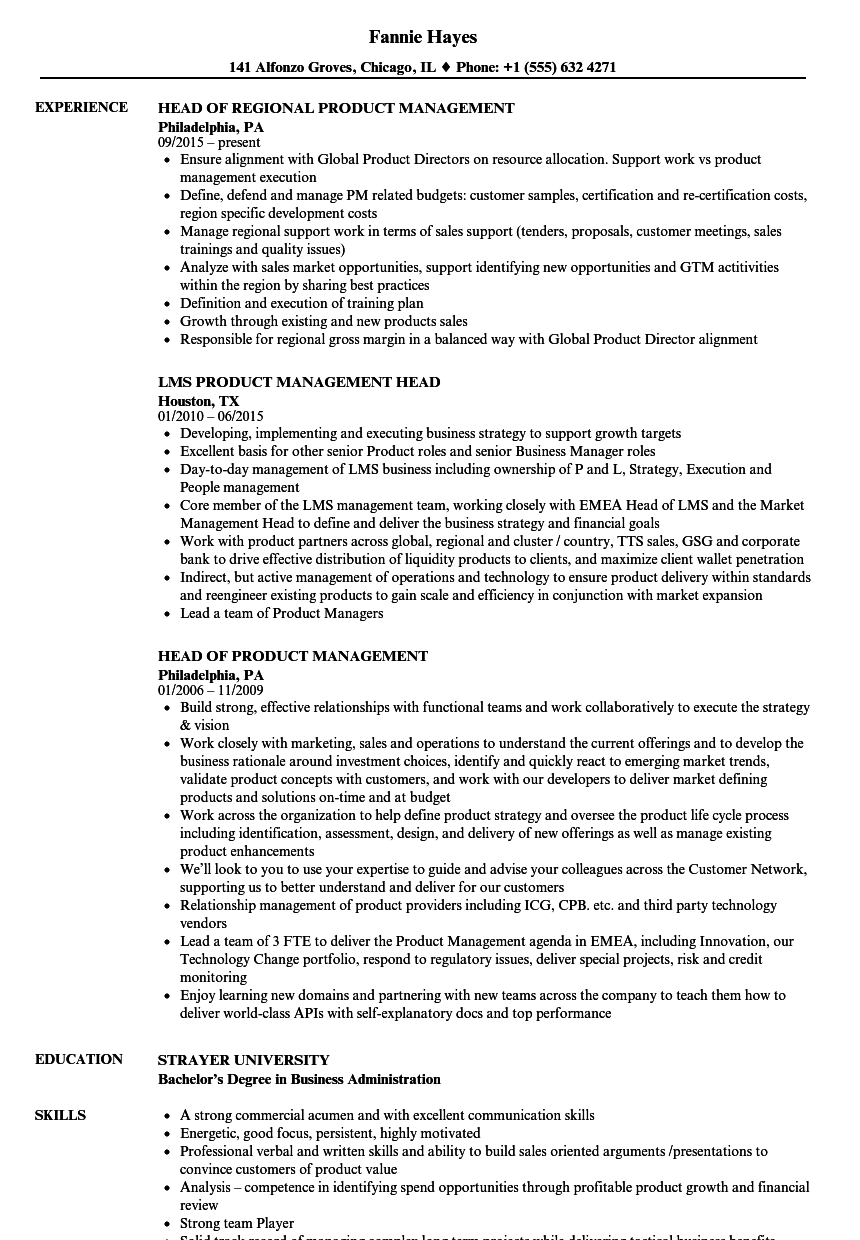 vp of product management resume