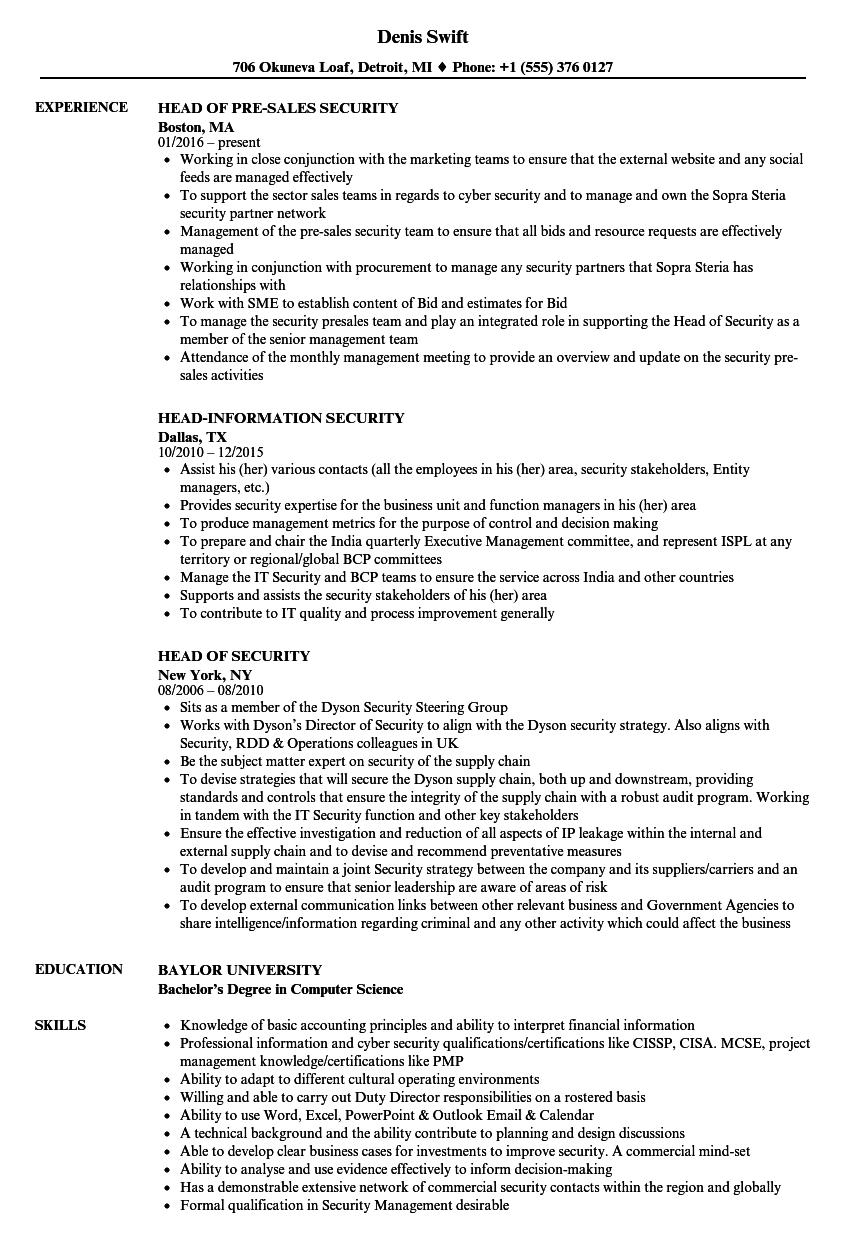head security resume samples