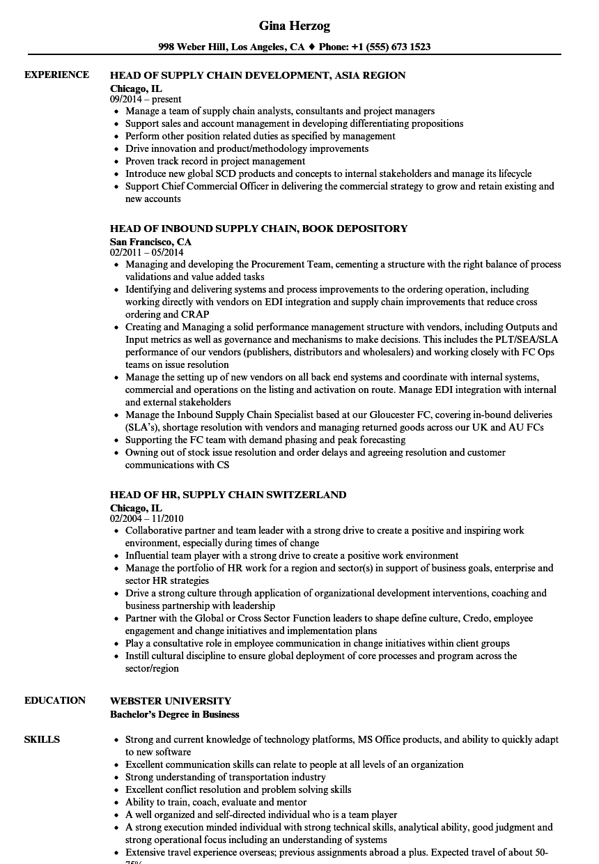 Head, Supply Chain Resume Samples | Velvet Jobs