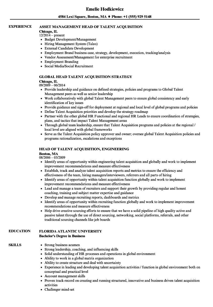 Head Talent Acquisition Resume Samples | Velvet Jobs
