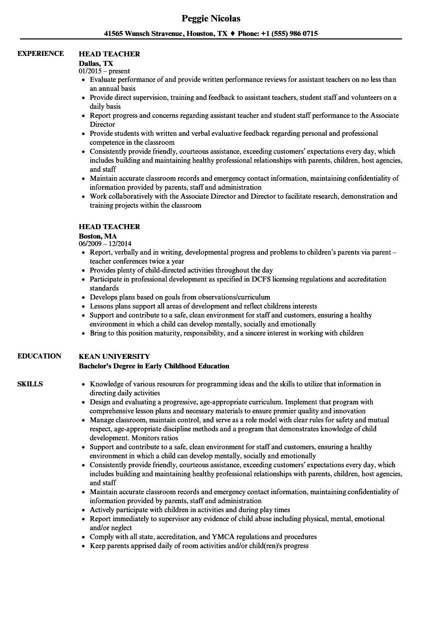 Head Teacher Resume Samples | Velvet Jobs