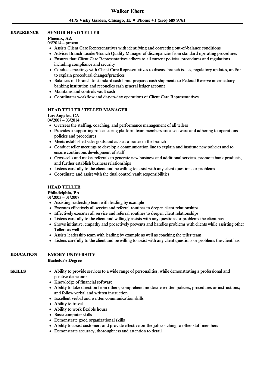 Teller Resume Impressive Head Teller Resume Samples Velvet Jobs
