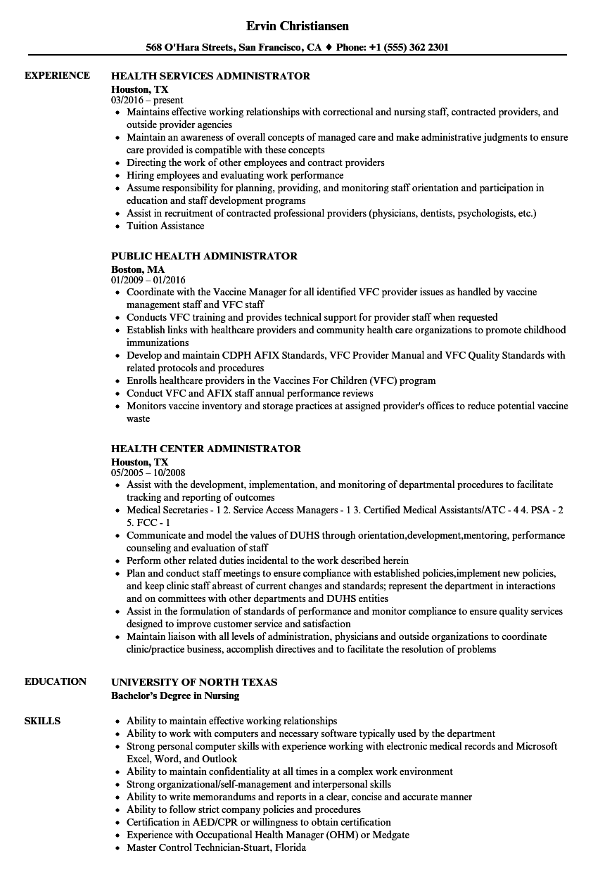 Health Administrator Resume Samples | Velvet Jobs