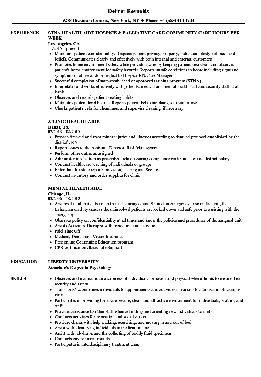 health aide resume samples