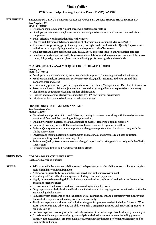 Healthcare Business Analyst Resume.Health Analyst Resume Samples Velvet Jobs