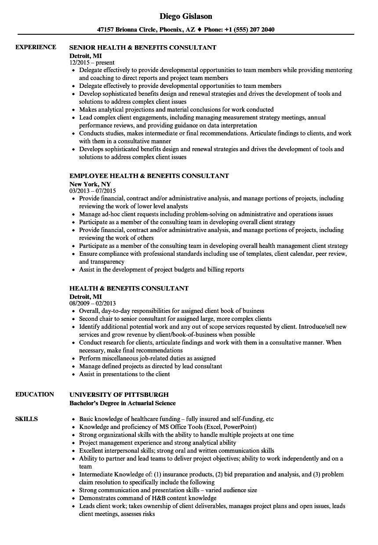 health  u0026 benefits consultant resume samples