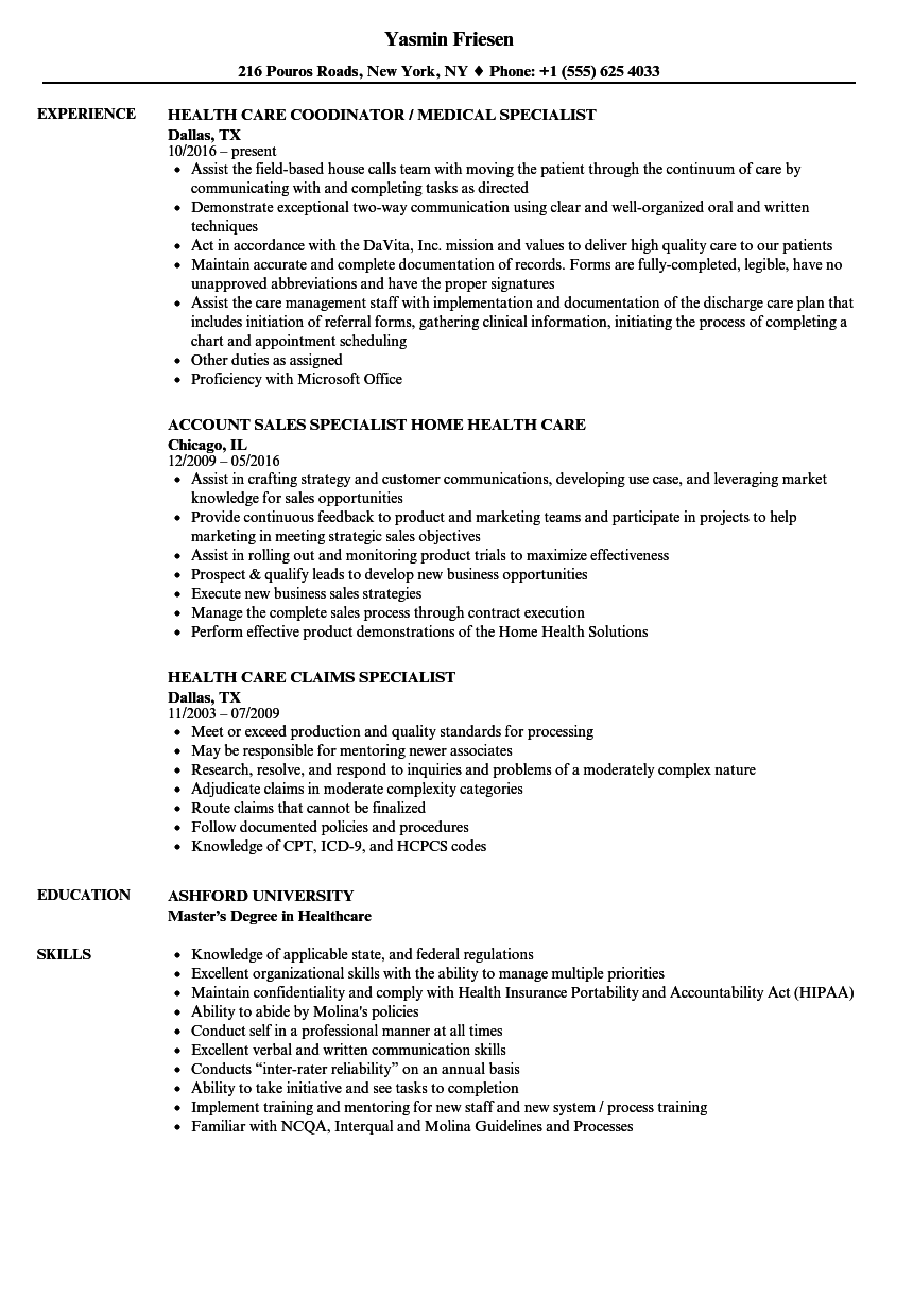 Download Health Care Specialist Resume Sample As Image File  Home Health Care Resume