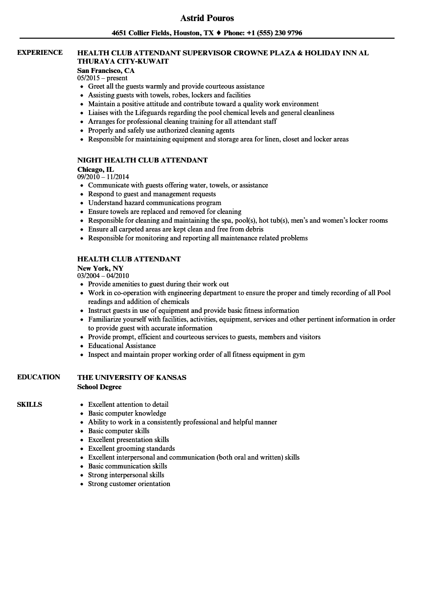 health club attendant resume samples