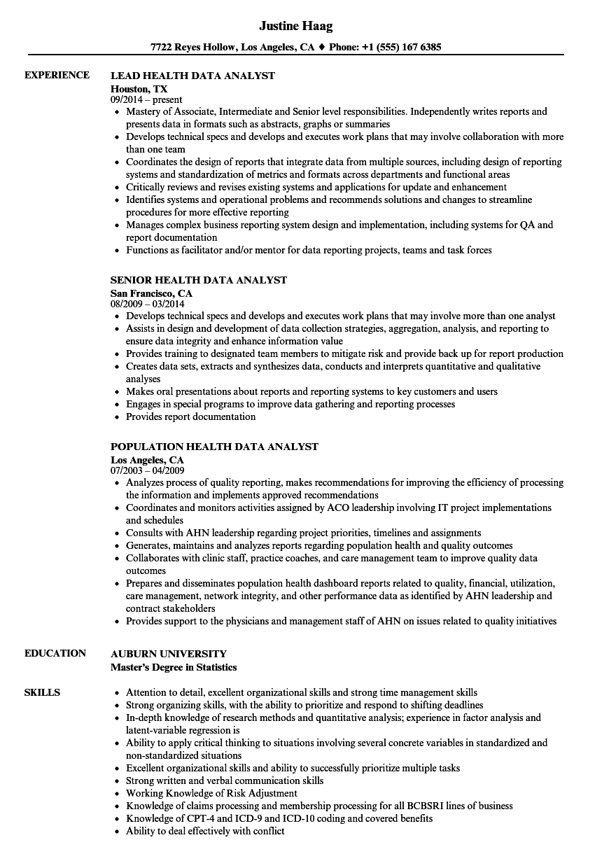 Download Health Data Analyst Resume Sample As Image File