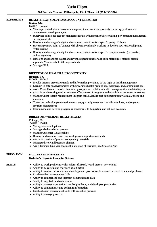 Health Director Resume Samples | Velvet Jobs