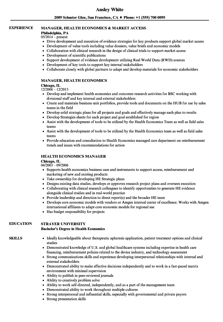 health economics resume samples