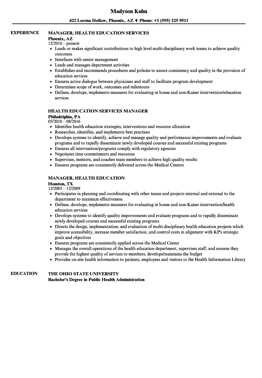 Health Education Resume Samples