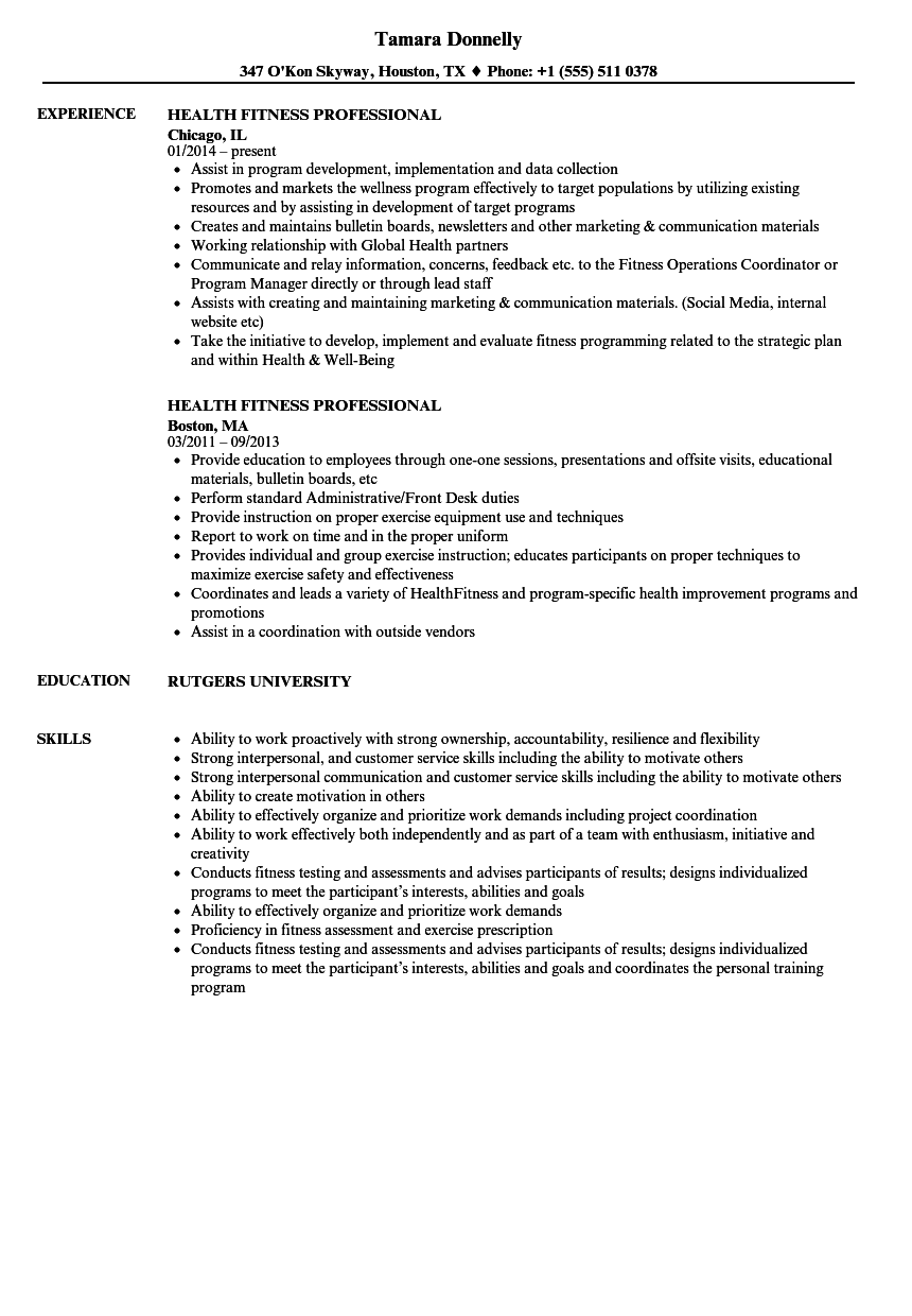 Download Health Fitness Professional Resume Sample As Image File