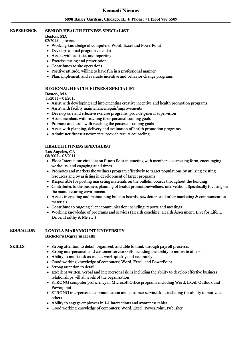 27fadd7b51 Download Health Fitness Specialist Resume Sample as Image file