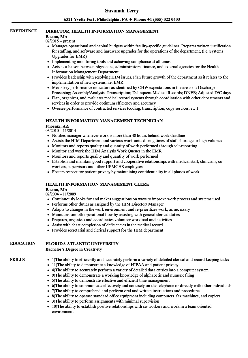 Health Information Management Resume Samples | Velvet Jobs