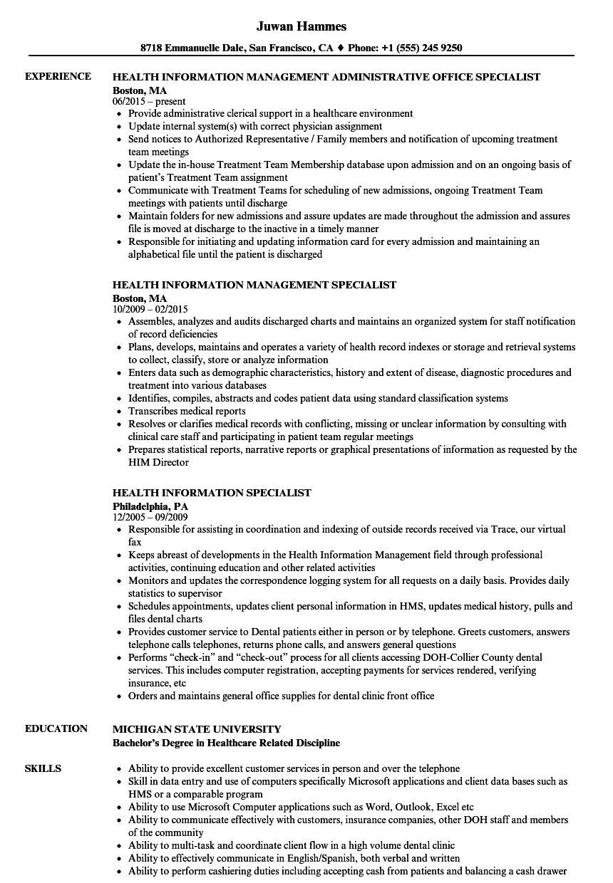 health-information-specialist-resume-sample Sample Health Information Technician Management Resume on civil engineering, dialysis patient care, building maintenance, automotive service, oil field, for auto body, qc laboratory, cvs pharmacy,