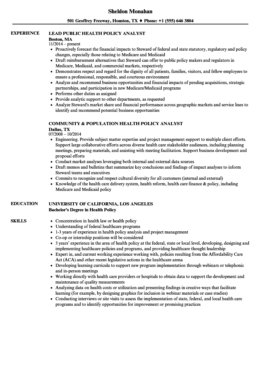 Policy Analyst Resume Sample - Professional Resume Templates •