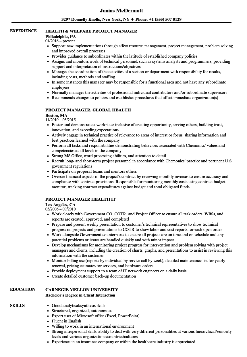 Health Project Manager Resume Samples Velvet Jobs