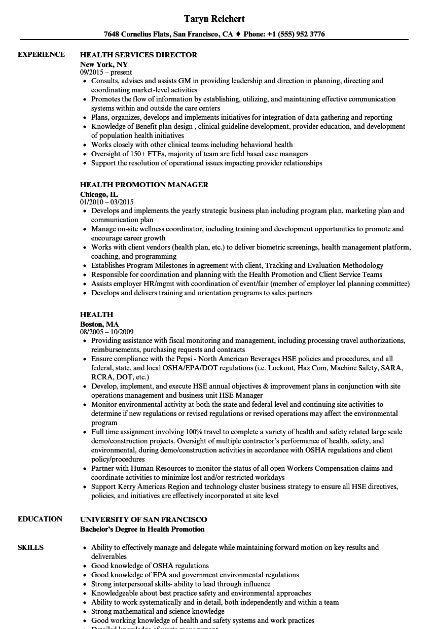 health resume samples