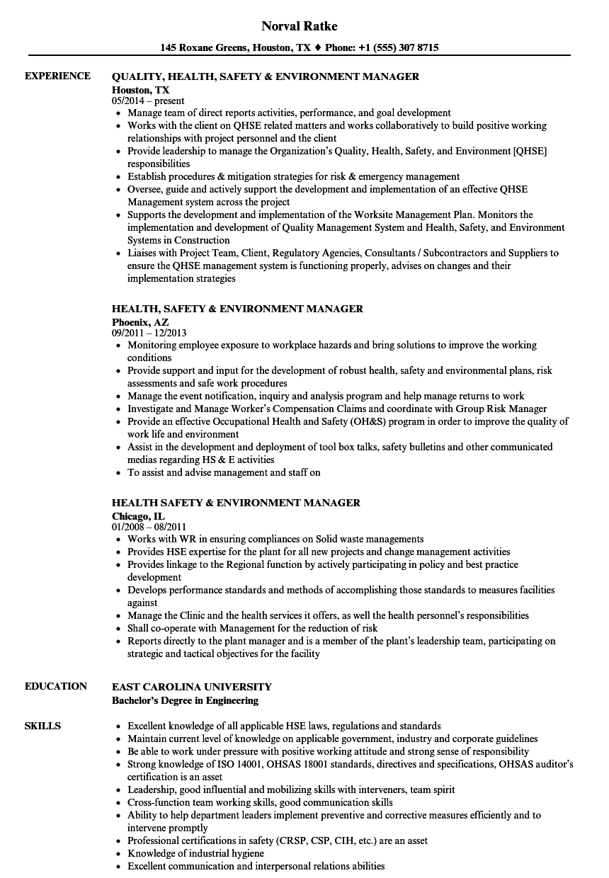 health  safety  u0026 environment manager resume samples