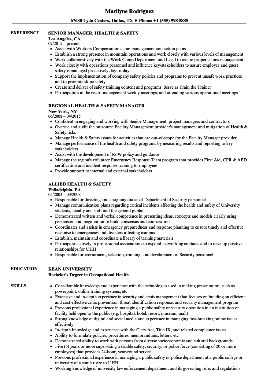 health safety resume samples velvet jobs