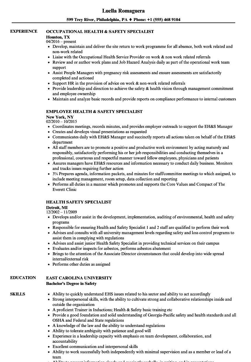 Download Health Safety Specialist Resume Sample As Image File Intended For Safety Specialist Resume