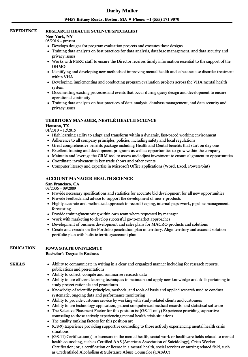 health science resume samples