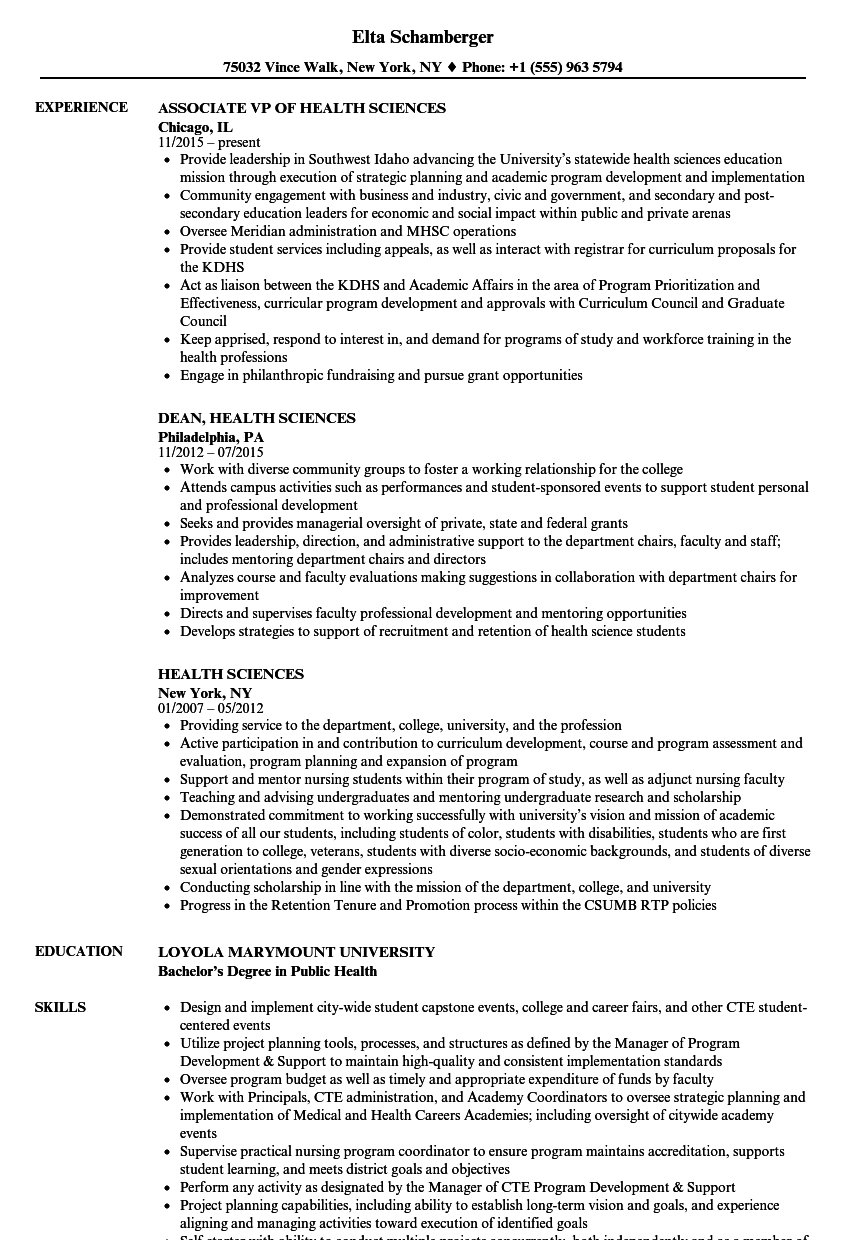 download health sciences resume sample as image file - Health Science Resume Template