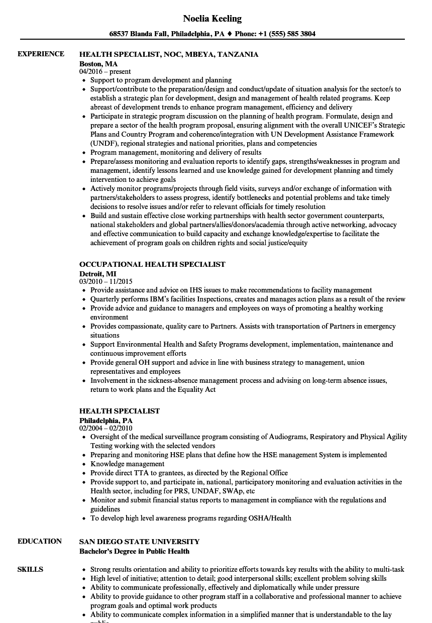 Velvet Jobs  Public Health Resume Sample