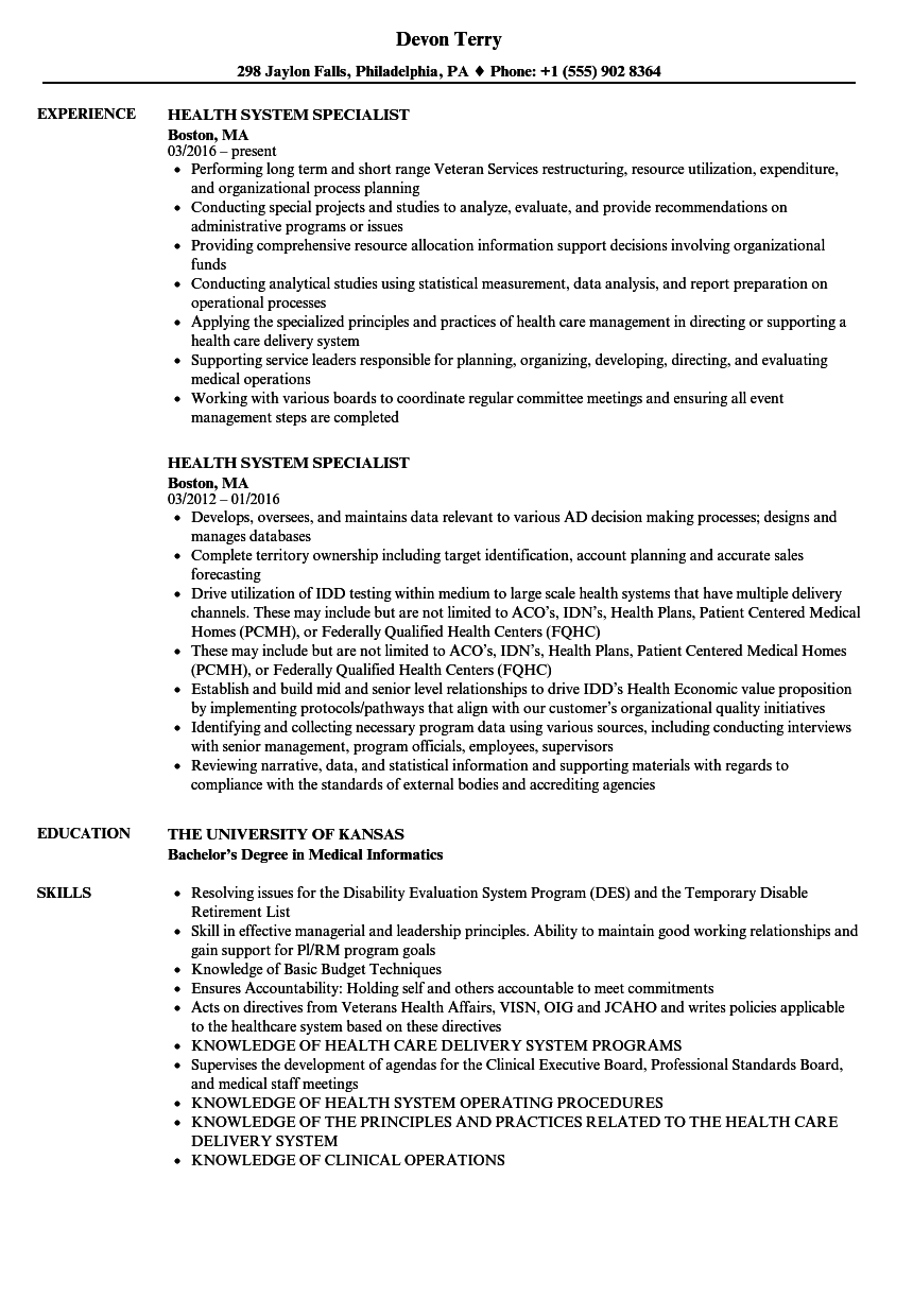 health system specialist resume samples