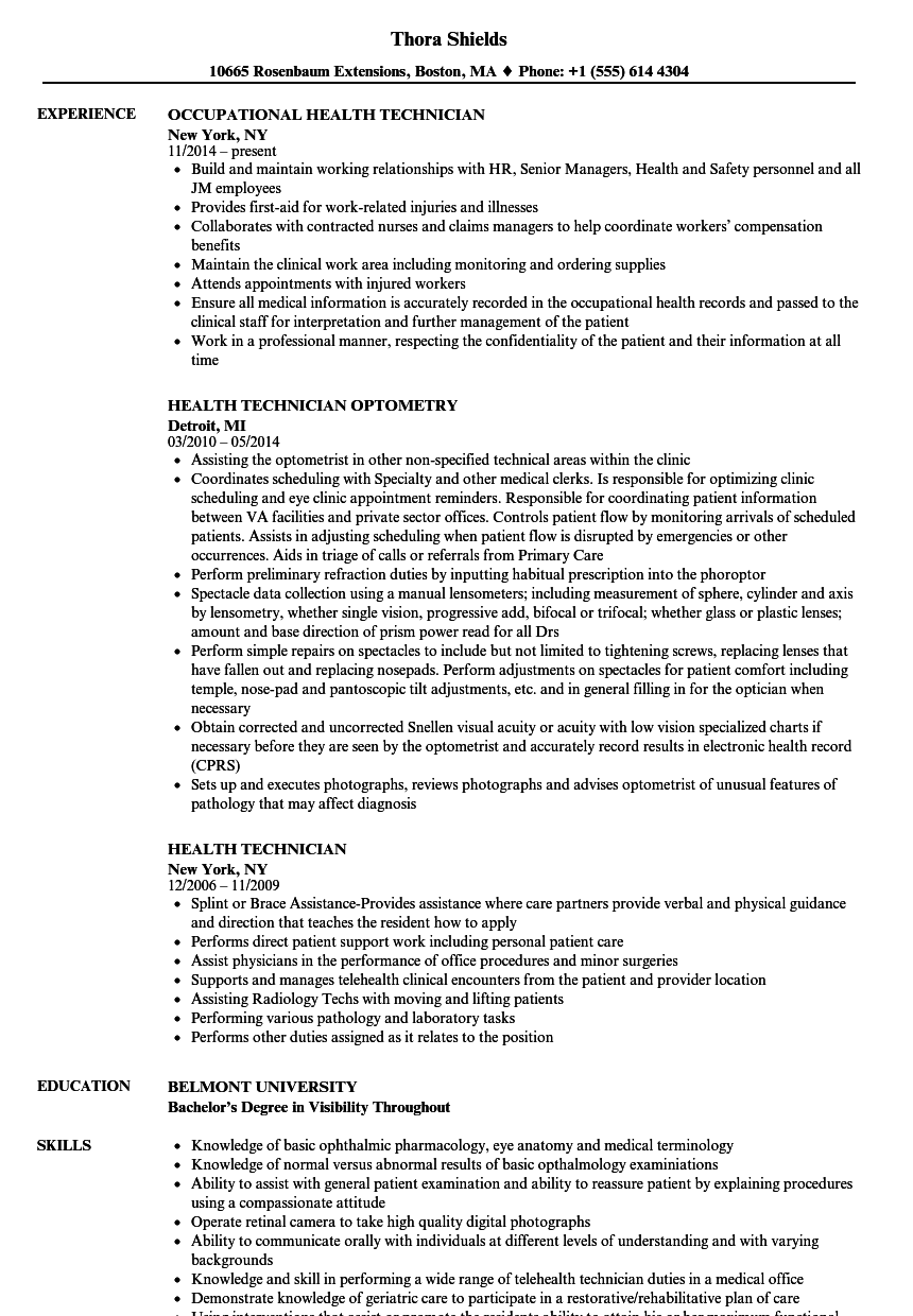 health technician resume samples