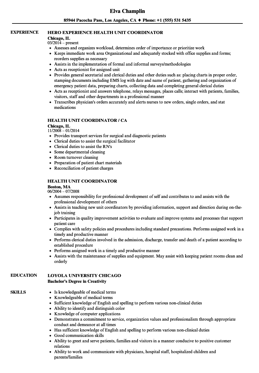 Download Health Unit Coordinator Resume Sample As Image File  Clerical Duties