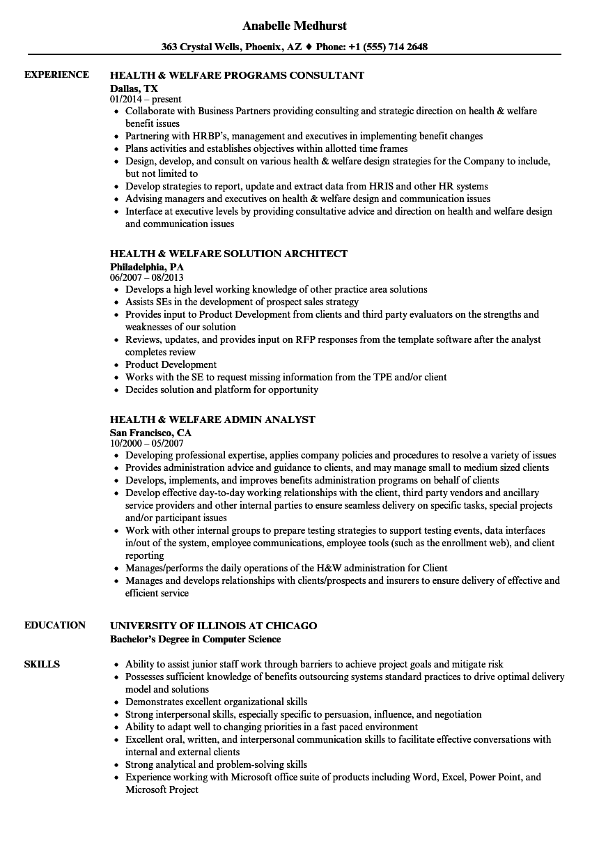 health  u0026 welfare resume samples