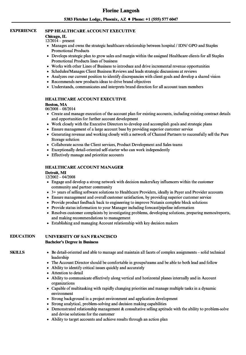 Healthcare Account Resume Samples Velvet Jobs