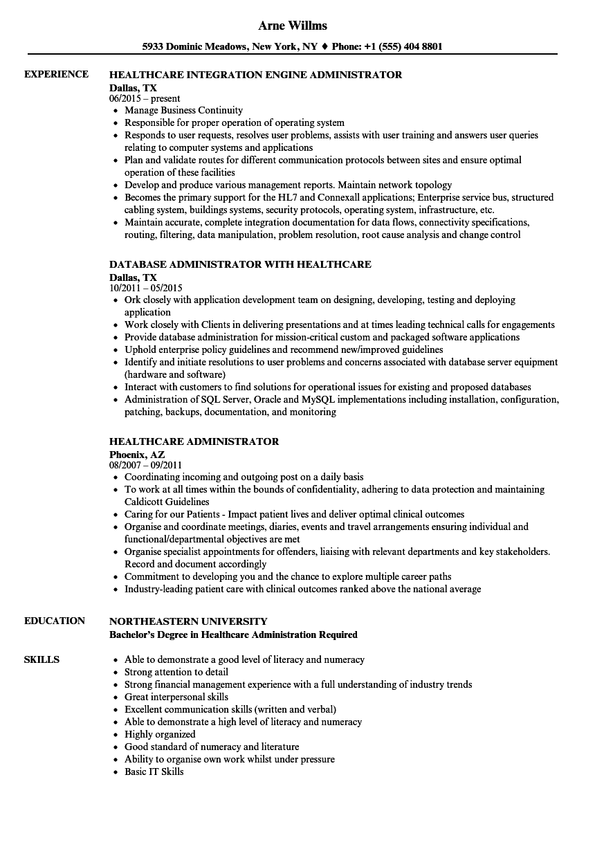 Healthcare Administrator Resume Samples | Velvet Jobs