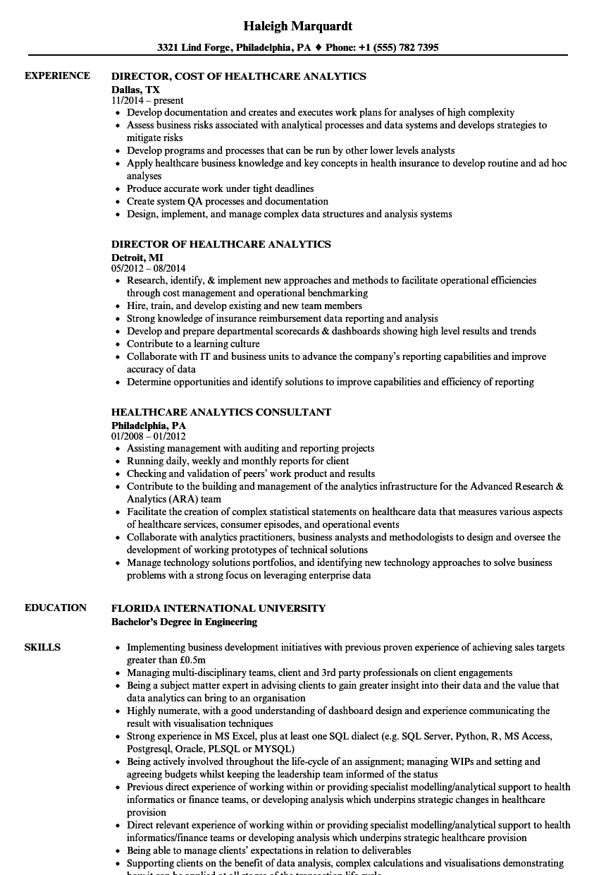 Healthcare Analytics Resume Samples Velvet Jobs