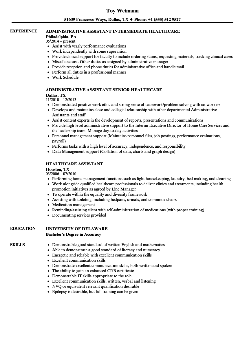 download healthcare assistant resume sample as image file - Healthcare Resume