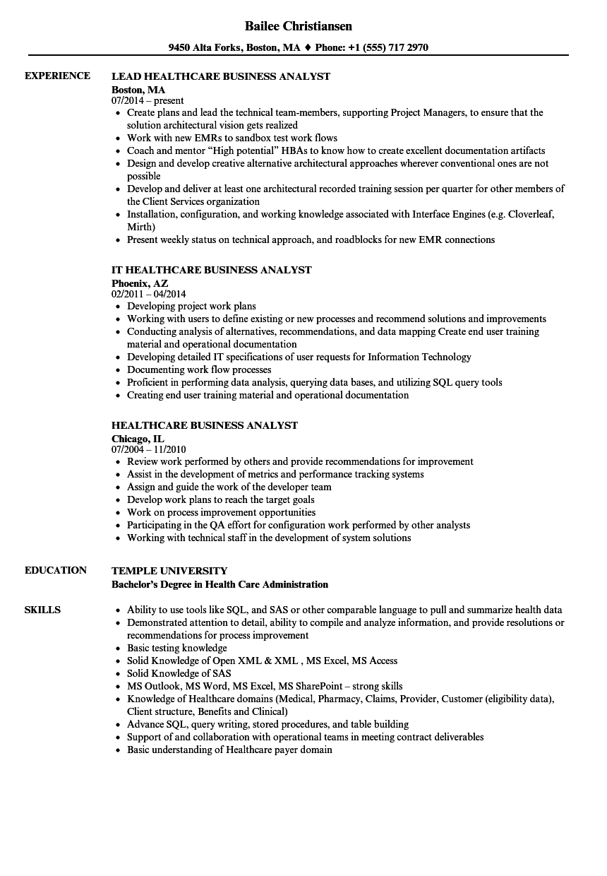 healthcare business analyst sample resume